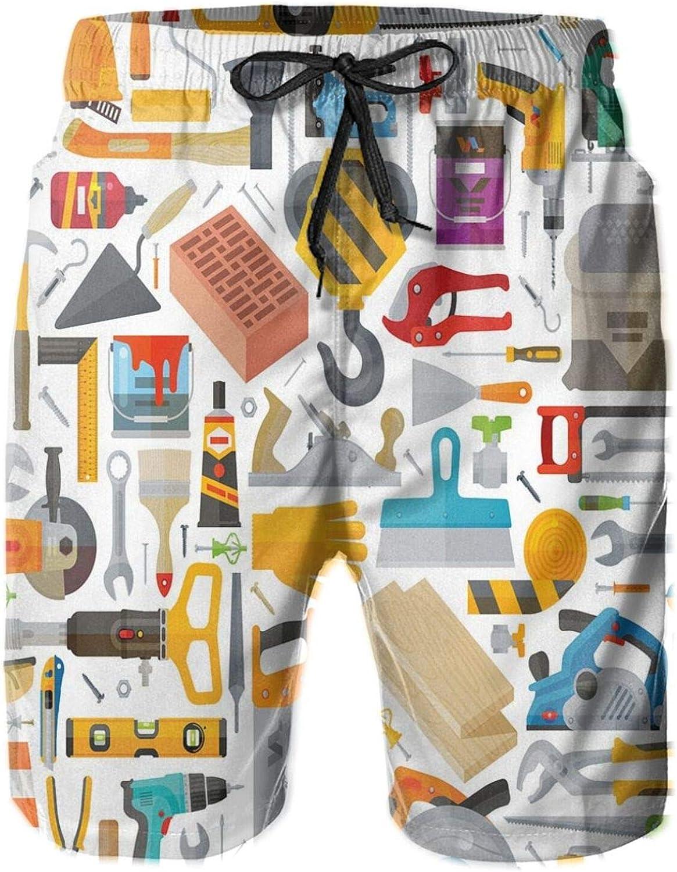 Construction Tools in Cartoon Style Engineering Fixing Repairing Building Printed Beach Shorts for Men Swim Trucks Mesh Lining,XL