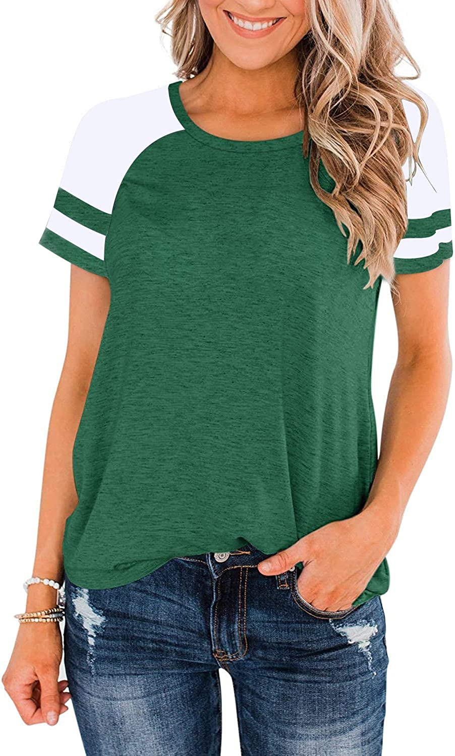 Heymiss Womens Tunic Tops Color Block Crewneck Shirts Casual Summer Loose Fit Workout T Shirt