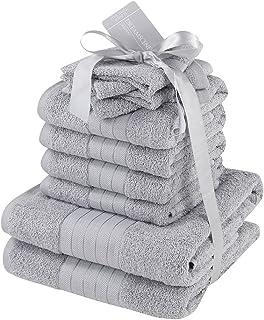 Dreamscene–lujo 100% algodón egipcio 10piezas juego de toalla de baño Set de regalo de baño de cara mano, plata gris, 1...