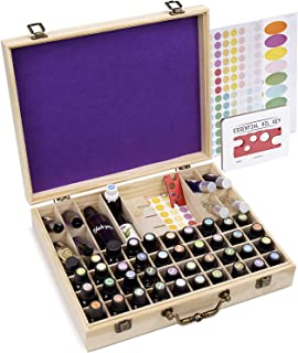 72 Bottle Wooden Essential Oils Storage Box with Handle, 64 Slot for 5-15ml Essential Oils & 8 Slot for 10ml Roller Bottles