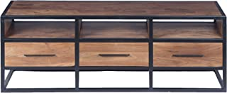 The Urban port Spacious Acacia Wood Tv Unit with Metal Frame, Walnut Brown and Black