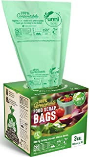 UNNI ASTM D6400 100% Compostable Bags, 3 Gallon,200 Count,Extra Thick 0.71 Mils,Small Kitchen Trash Bags,Food Scrap Yard W...
