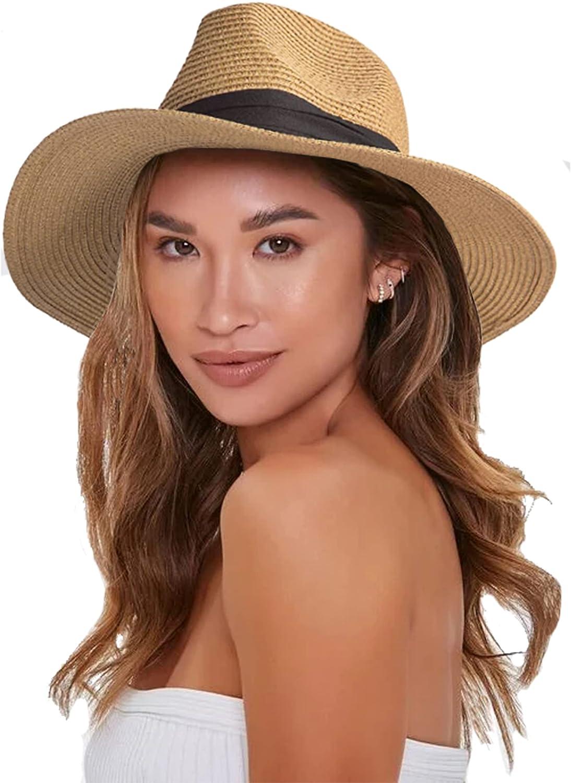 Womens Floppy Straw-Hat - Sun Protection Fedora Panama Hat Summer Beach (Hat Clrcumference 21.7