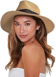 """قبعة قش مرنة للنساء - قبعة فيدورا بناما للحماية من الشمس على الشاطئ الصيفي (قبعة Clrcumference 22-22""""، صغيرة)"""