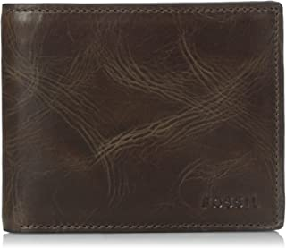 Fossil Men's Derrick Leather RFID Blocking Bifold Flip ID Wallet