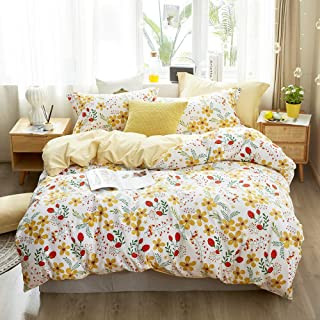Kids Duvet Cover Queen Floral Bedding Sets Cotton Comforter Cover Garden Bedding Sets Double 3 Piece for Boys Girls Reversible Garden Flowers Bedroom Collections Full/Queen Size