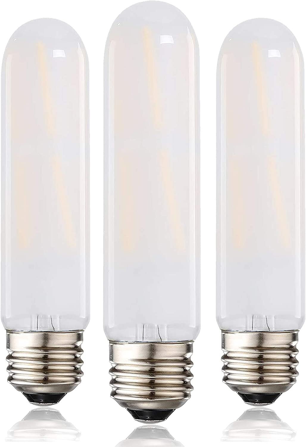 LEOOLS T10 Led Frosted Bulb, 8W Dimmable Tubular LED Light Bulb, 75 Watt Incandescent Bulb Equivalent, 4000K Daylight, Frosted Glass, E26 Base, for Cabinet Display Cabinet etc,3 Pack.