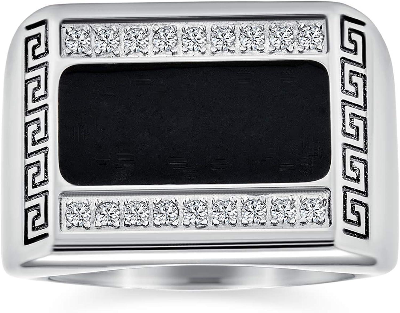 Mens Geométrica Clave Griega Engravable Rectángulo Negro Anillo De Sello para Hombres Tono Plateado Acero Inoxidable