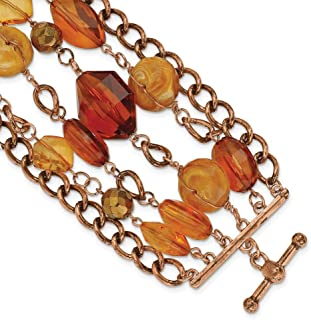 Toggle Closure Copper tone Multicolor Crystal 7.25inch Bracelet Jewelry Gifts for Women