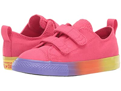 Converse Kids Chuck Taylor All Star 2V Rainbow Ice Ox (Infant/Toddler) (Strawberry Jam/Wild Lilac/Black) Girls Shoes