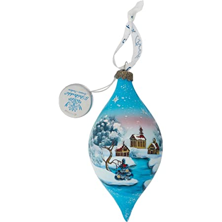 Amazon Com G Debrekht Led Winter House Glass Ornament 5 5 Home Kitchen
