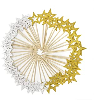 50 Pcs Gold & Silver Star Cupcake Toppers,Star Cupcake Toppers Twinkle Little Star Decorations Birthday Cupcake Toppers Glitter Star Cake Decoration for Party Birthday Wedding Ceremony (Gold & Silver)