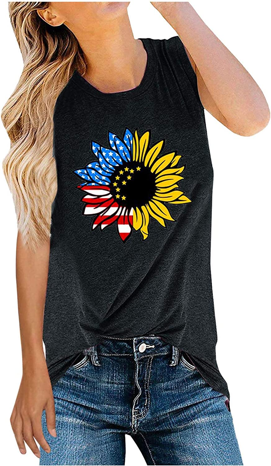 Tops for Women Casual Summer Plus Size,Womens Flag Print Summer Sexy Sleeveless T-Shirts Tank Top