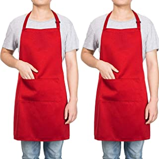 Homsolver 2 Pack Adjustable Bib Apron with 2 Pockets Liquid Drop Waterdrop Resistant Cooking Kitchen Restaurant Bar Apron Black Aprons Chef Apron Unisex Aprons for Women Men