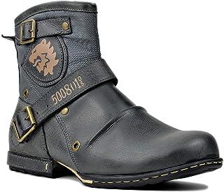 osstone Bottes de Moto pour Hommes Mode Zipper-up Bottes Chukka en Cuir Chaussures décontractées OS-5008-1-A