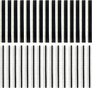 KeeYees ストレート ピンヘッダー ストリップ ピンソケット 40ピン 単列 2.54mmピッチ メスピン オスピン 30個入り 15セット