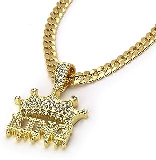 "14k Gold Plated Cz KING Hip Hop Pendant 6mm 24"" Cuban Chain Necklace"