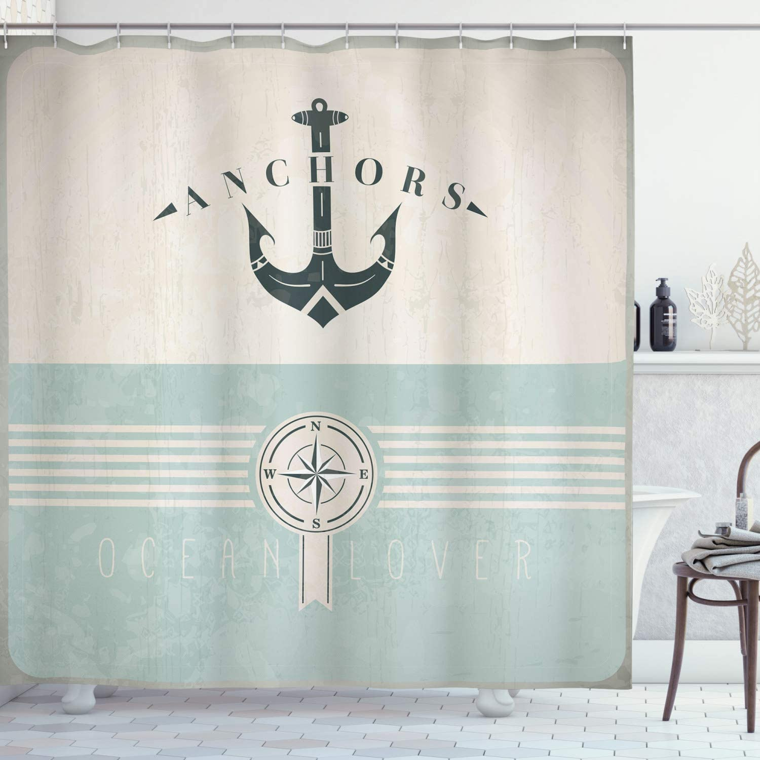 Ambesonne Nautical Shower Curtain Vintage Marine Super popular specialty store Max 88% OFF for Oce Design