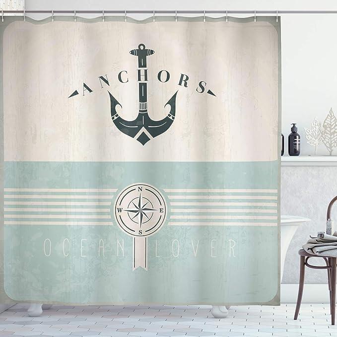 Rustic Anchor Shower Curtain Aqua Brown Nautical Wood Planks Ocean Barn Board