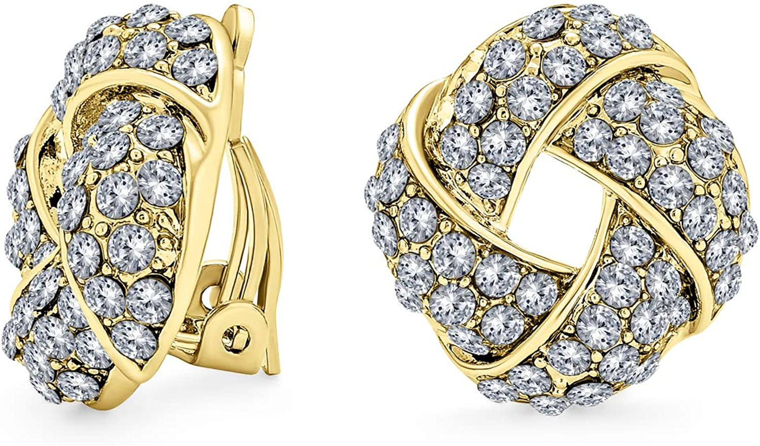 Woven White Clear Crystal Love Knot Work Clip On Earrings For Women Non Pierced Ears 14K Gold Plated Brass