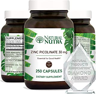 Natural Nutra Zinc Picolinate 30 mg, Double Strength, Raw and Pure, Highly Bioavailable Supplement for Growth, Immune and ...