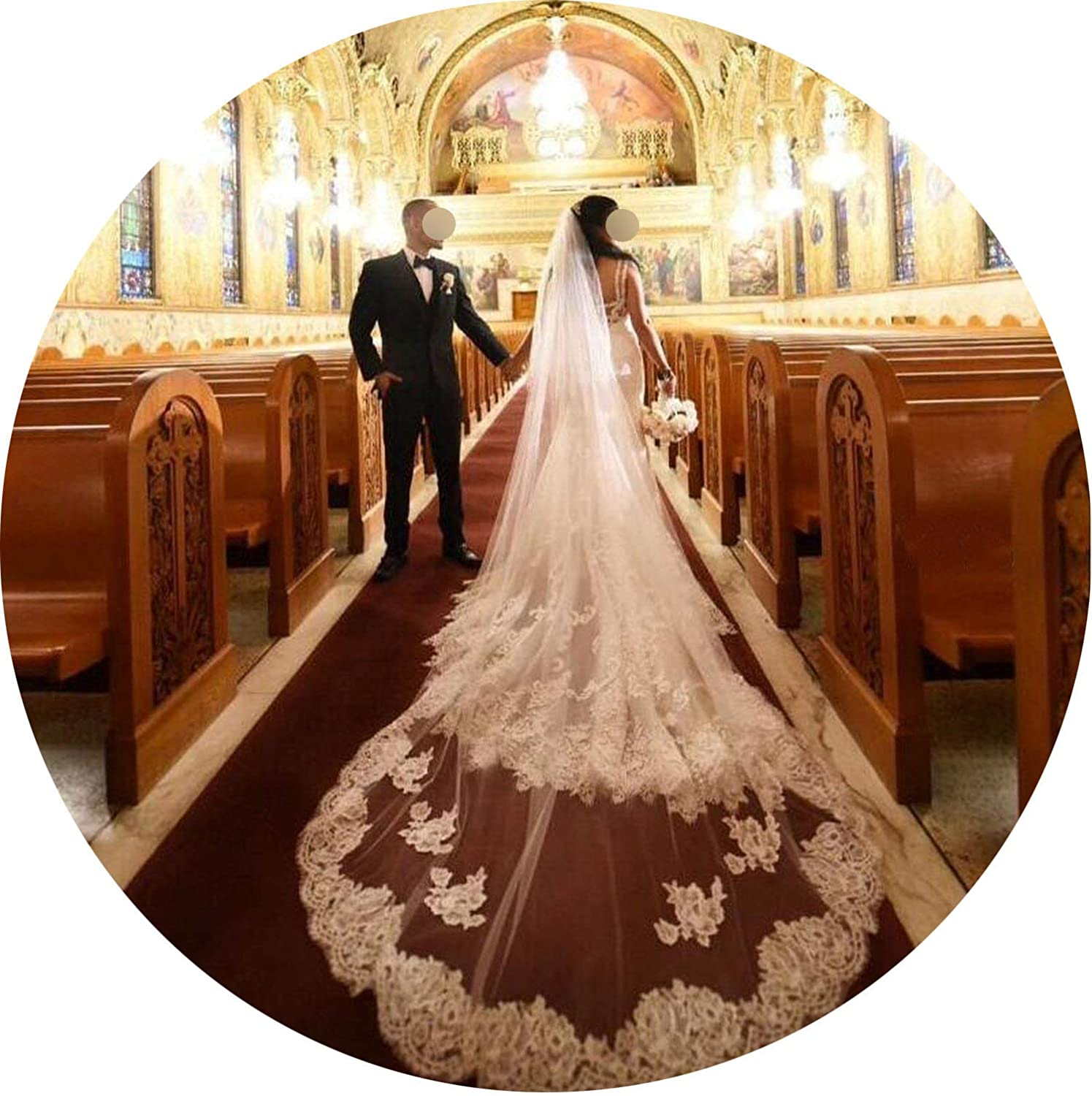 Cathedral Long Wedding Veil 5M One Tier Lace Applique Edge 2019 Bridal Veil With Comb White Ivory Wedding Headpiece,Ivory,500Cm
