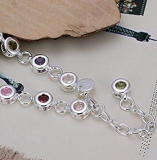 Pulsera de Plata y cristal de roca adaptable, multicolor con cadena para regular el tamaño de la muñeca.