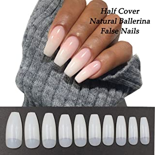 Coffin Nails 500pcs Half Cover Acrylic False Nail Tips Coffin Ballerina Nails 10 Sizes With Bag for Nail Salons and DIY Manicure (Half Cover, Natural)