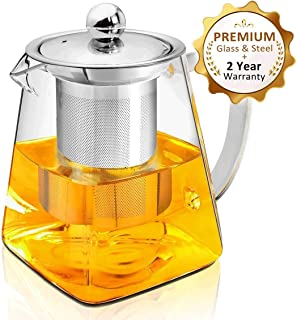 350ML Glass Teapot with Infuser,Heat Resistant glass Teapot with Removable Infuser, Borosilicate Clear Glass Tea Pots for Loose Leaf Tea and Blooming Tea (350ML)