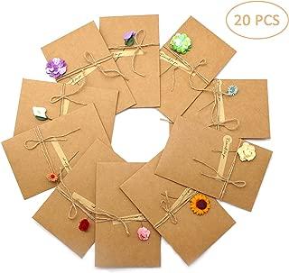 20 tarjetas de Auguri, hechas a mano retro papel Kraft, sobres vacíos, flores secas decoradas tarjeta para ocasiones importantes, felicitaciones de boda, cumpleaños, invitaciones de carta