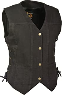 Milwaukee Women's Motorcycle Ladies 6 Pocket Denim Vest W/2 Gun Pockets Side Laces Black (Regular Regular L Regular)