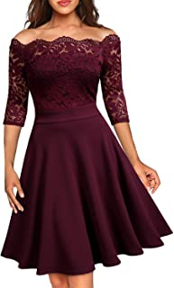 Women's Vintage Floral Lace Half Sleeve Boat Neck Formal Swing Dress