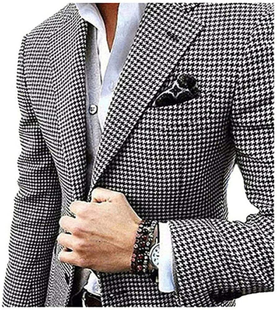 Premium Houndstooth Long Beach Mall Plaid Slim Fit Tuxedo Jac Max 54% OFF Blazers Prom Suits