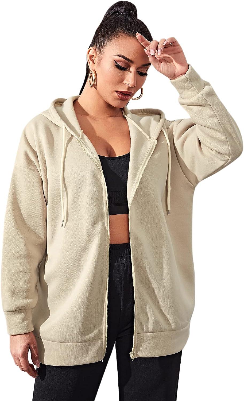 MakeMeChic Women's Drop Shoulder Zip Up Long Sleeve Drawstring Hoodie Oversize Coat Apricot XS