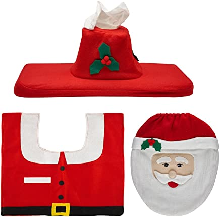 Megadream Cute Snowman Santa Claus Toilet Seat Cover and Rug Set for Bathroom Christmas Decorations
