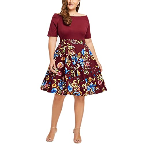 a3602b6ce Women s Off The Shoulder Fit and Flare Plus Size Swing Dress with Pockets