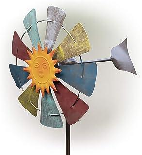 دوار دوار دوار متحرك يعمل بالطاقة الشمسية من ألبين كوربوريشن - ديكور فني لساحة الهواء الطلق - أحمر وأبيض وأزرق - 38.1 سم ×...
