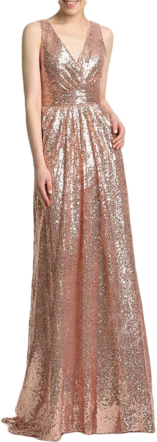 Stylefun Women's Sequins Evening Prom Party Dress V Neck Bridesmaid Dress XIN023