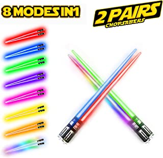 LIGHTSABER CHOPSTICKS LIGHT UP STAR WARS LED Glowing Light Saber Chop Sticks REUSABLE Sushi Lightup Sabers 8 COLORS MODES 2 Pairs