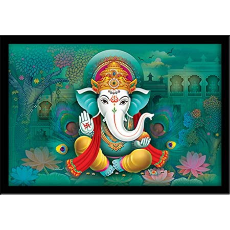 LIFEHAXTORE® Xtore Wooden Religious Ganesha Art Framed Painting - Ready to Hang - ( Multicolour , Standard , 12inch x 18 inch)