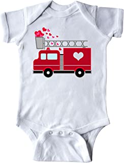 inktastic - Valentine's Day Red Firetruck with Pink Hearts Infant Creeper 2873d