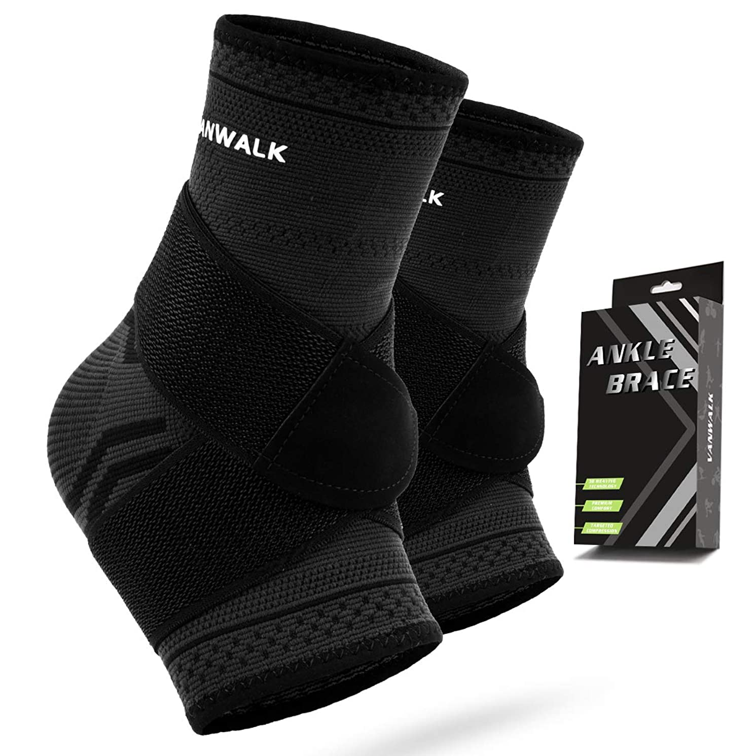 Ankle Brace Compression Support Sleeve - Ankle Compression Socks with Adjustable Strap - Breathable & Comfortable
