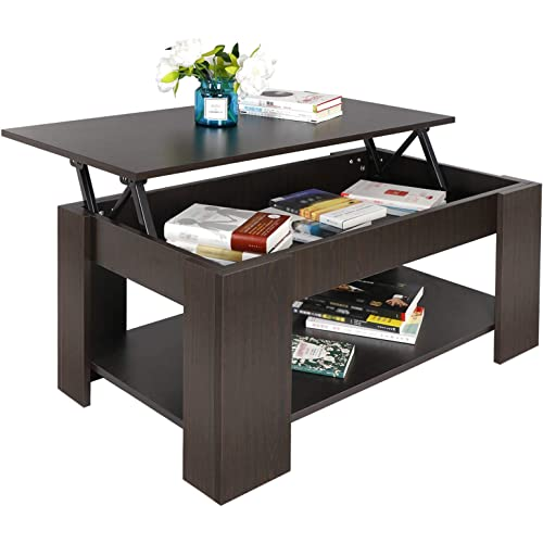Amazon Com Super Deal Lift Top Coffee Table W Hidden Compartment And Storage Shelves Pop Up Storage Cocktail Table Kitchen Dining