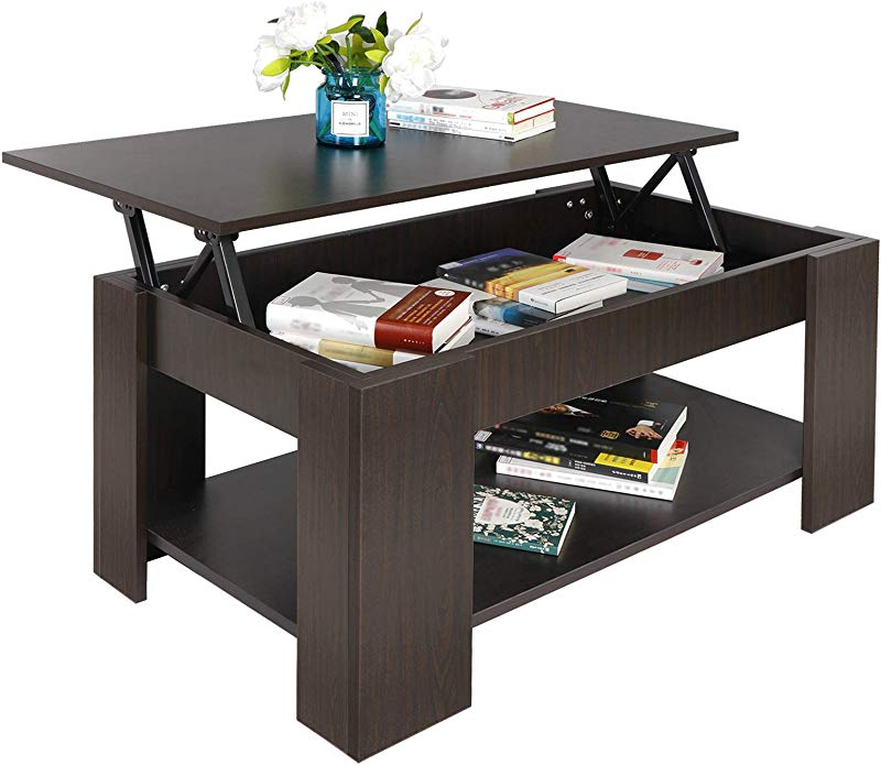 SUPER DEAL Lift Top Coffee Table W Hidden Compartment And Storage Shelves Pop Up Storage Cocktail Table 1
