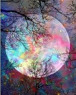 مجموعات طلاء ألماس 5D جديدة للأطفال البالغين، أشجار القمر الساطع حفر كامل DIY فن ألماس مطرز بالأعداد مع الماس (القمر)
