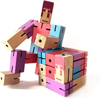 Toyzon Wooden Robot Ultimate Cube Puzzle; Colorful Stretch, Twist & Lock Brain Teaser Toy for Kids Age 8-11, Develop Problem Solving Skills, Patience, Creativity & Imagination, Fun Gift or Decoration