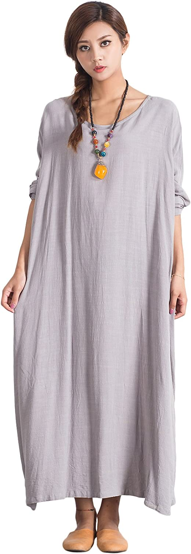 OverSize Women's Linen Cotton Soft Dress Loose Caftan Large Clothing 69