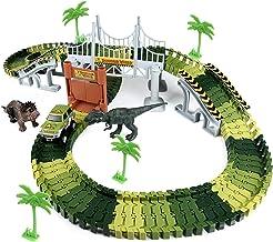 HOMETALL Dinosaur Toys for Boy 144Pcs Flexible Dinosaur Tracks Set, Train Racing Car Toys for Kids, Birthday Gifts for Age...