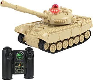 Click N' Play RC Battle Tan Colored Tank Infrared Full Size Tank with LED Indicators Rotating Turret Detailed Designed Rea...