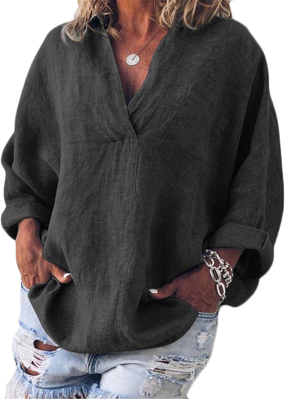 Andongnywell Women V-Neck Blouse T-Shirt Casual Long Sleeve Tops Loose Shirts Bat Sleeve Tunic Pullover Tees
